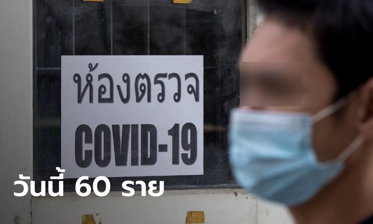 สถานการณ์โควิดวันนี้ ไทยพบผู้ติดเชื้อเพิ่ม 60 ราย ป่วยสะสม 26,501 ราย ไม่มีเสียชีวิต