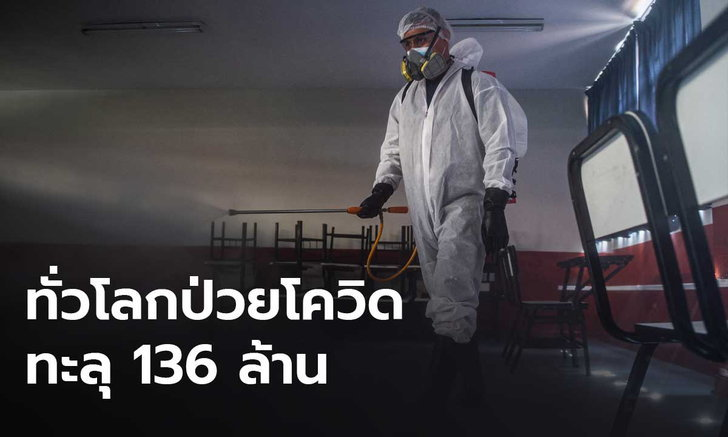 ทั่วโลกป่วยโควิดทะลุ 136 ล้าน เสียชีวิตรวม 2.9 ล้าน