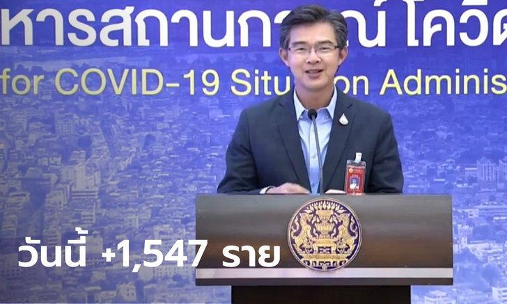 โควิดวันนี้ ศบค.แถลงไทยพบผู้ติดเชื้อเพิ่ม 1,547 ราย มีผู้เสียชีวิตอีก 2 ราย