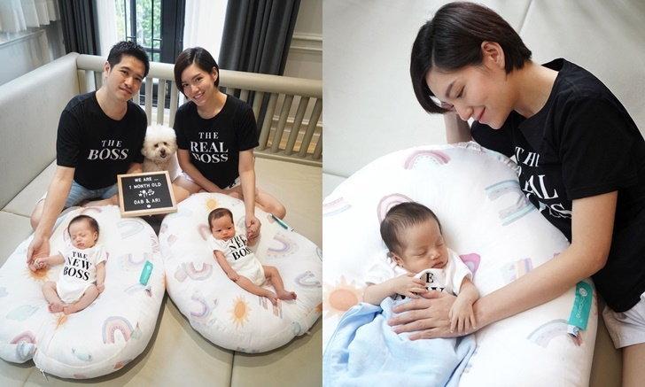 """""""จ๊ะ จิตตาภา"""" เผยภาพลูกแฝดอายุครบ 1 เดือน ใส่เสื้อทีมน่ารัก"""