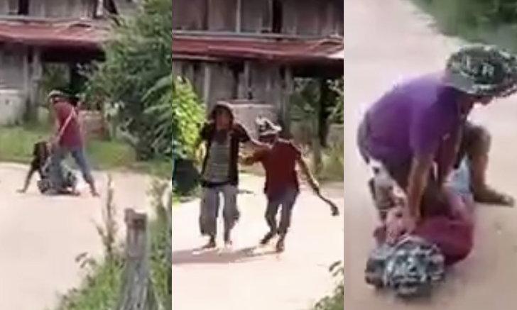 ผัวโหด ใช้ทั้งมีดและค้อนไล่ทำร้ายเมีย เลือดท่วมสาหัส วิ่งหนีตายกลางหมู่บ้าน