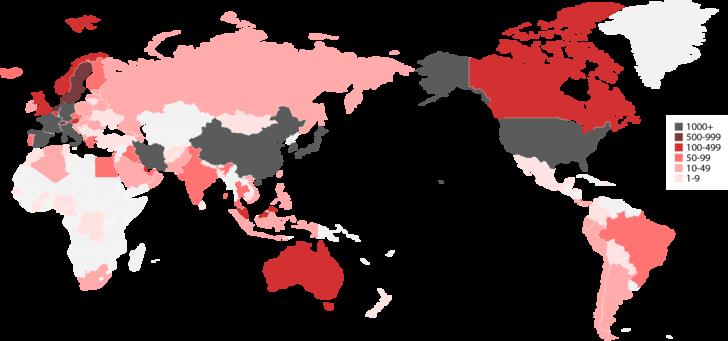 จำนวนผู้ป่วยโควิด-19 สะสมทั่วโลก