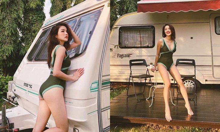"""""""แอร์ ภัณฑิลา"""" จัดทริปใส่ชุดว่ายน้ำนอนรถบ้าน บอกแฟนๆ ก็เย็นๆ ดี"""