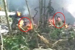 ฮ.เบลล์ 212 ตก ฮือฮาภาพคล้ายคนยืนในกองเพลิง