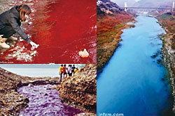เยอะมาก! แม่น้ำเปลี่ยนสีที่จีน