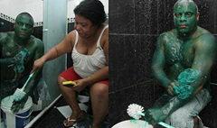 ไม่ขำ! หนุ่มบราซิลทาตัวเขียว ล้างไม่ออก