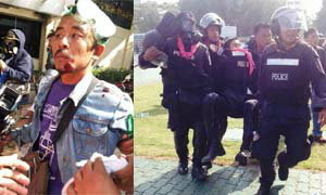 ประมวลภาพเหตุการณ์ปะทะกันที่ศูณย์ ไทย-ญี่ปุ่น ดินแดง