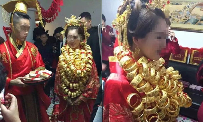 วิวาห์เศรษฐีใหม่จีนสุดอลังการ เจ้าสาวสวมทองเต็มตัว
