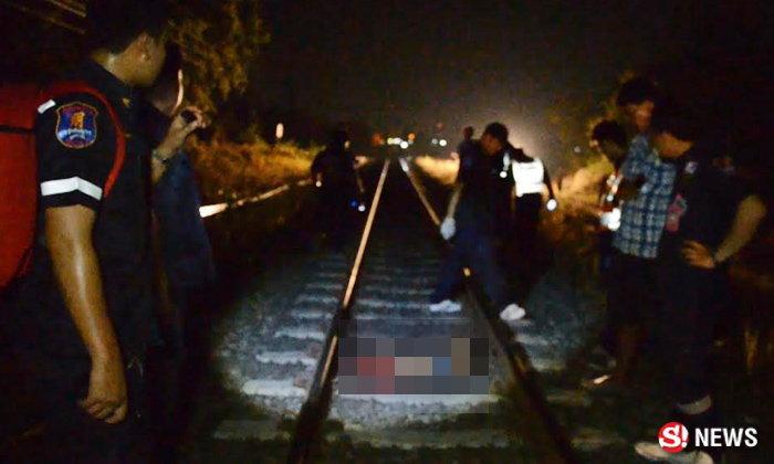 หนุ่มใหญ่ซดเหล้า นอนคร่อมราง รอความตาย-รถไฟทับร่าง