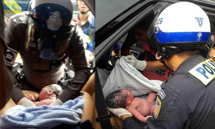 ตำรวจช่วยทำคลอดระทึก คุณแม่ท้องแก่เจ็บท้องตอนรถติด