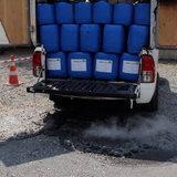 กระบะบรรทุกสารเคมีรั่วไฟลุก คนขับจอดรถหนีตาย-คาดเคมีรั่วเจอความร้อนจึงปะทุ