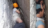 """สาวเมาโชว์สกิล """"เหินหลังคาไต่ผนัง"""" แต่ร่วงติดซอกกำแพงกว่า 6 ชม."""