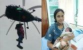 สาวท้องแก่โหนเชือกขึ้นเฮลิคอปเตอร์ไป รพ. หลังน้ำท่วมอินเดียยังวิกฤต
