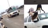 """สะโพกเด้งสะท้านไฮเวย์! 2 สาวขึ้นหลังคารถ เต้นท่าฮิต """"ทเวิร์ก"""" กลางถนน (มีคลิป)"""