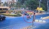อุทาหรณ์ จยย. ฝืนกฎฯ ลักลอบข้ามถนน รถทางตรงพุ่งชนบาดเจ็บ