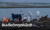 อินเดียช็อก! ชาวบ้านเจอศพนับร้อยลอยติดฝั่งแม่น้ำคงคา เชื่อเป็นผู้เสียชีวิตจากโควิด-19