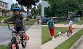"""""""นานา"""" เผยภาพลูกๆ เริงร่า ปั่นจักรยานเล่นรอบสวนโดยไม่ต้องสวมแมสก์แล้ว"""