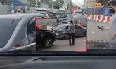 ดาวดวงใหม่วงการเกียร์อาร์ หนุ่มใหญ่หัวเกรียนฉุนรถเฉี่ยวกันบนถนน ถอยเก๋งชนยับ