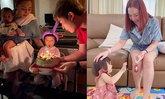 """""""เอ็ม บุษราคัม"""" น้ำตาไหล """"น้องนาฬิกา"""" ก้มกราบเท้าขอพรวันเกิดอายุครบ 2 ขวบ"""