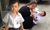 """ทั้งขำทั้งสงสาร """"น้องคีริน"""" ลูกชาย ฮารุ ยื้อสุดชีวิตไม่อยากไปโรงเรียน"""