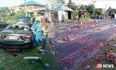 โศกนาฏกรรมปิกอัพยางระเบิด ชนเก๋ง 4 ศพ ด.ญ.รอดคนเดียว