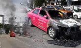 ไฟไหม้แท็กซี่ คนขับพร้อมผู้โดยสารอีก 5 หนีตายกันจ้าละหวั่น