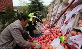 แอปเปิ้ลหลายตันเทกระจาดกลางถนน ตำรวจ-ชาวบ้านช่วยเก็บจนครบ