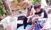 แอนนี่ บรู๊ค สอน น้องฑีฆายุ ซักผ้าด้วยมือ กิจกรรมน่ารักของสองแม่ลูก