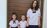 แฝด 3 ชัดๆ เมื่อคุณแม่นานา แต่งชุดนักเรียนไทยพร้อม บีน่า บรู๊คลิน