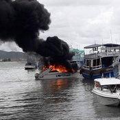 220964ระยอง ระเบิดไฟลุกท่วมท่าเรือข้ามฟากเกาะเสม็ดฟ