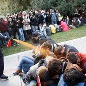 7. ตำรวจสหรัฐ ฉีดสเปรย์พริกไท ใส่กลุ่มนักศึกษามหาวิทยาลัยแคลิเฟอร์เนีย ซึ่งก่อม็อบประท้วง