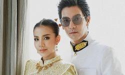 """""""ใบเตย-ดีเจแมน"""" สวมแต่งชุดไทย เข้าเฝ้าสมเด็จพระสังฆราช สง่างามเป็นที่สุด"""