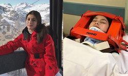 """""""ยิหวา"""" นางเอกช่อง 3  ประสบอุบัติเหตุลำตัวฟาดต้นไม้ขณะเล่นสกี กระดูกสันหลังร้าว (มีคลิป)"""
