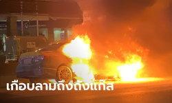 แท็กซี่ไฟลุกท่วมบนทางด่วน คนขับ-ผู้โดยสารหนีตายระทึก