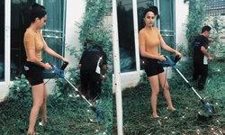"""""""ขวัญ อุษามณี"""" เผยคลิปตัดหญ้าเอง แต่ทำคนลุ้นมากกับผู้ชายเสื้อดำที่อยู่ข้างๆ"""