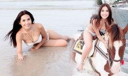 บอลลูน พินทุ์สุดา โชว์ขี่ม้าริมทะเล ยังเซ็กซี่เหมือนเดิม