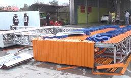 ลมพายุพัดแรง ป้ายโครงเหล็กล้มทับสาววัย 26 ดับหน้าร้านตัวเอง