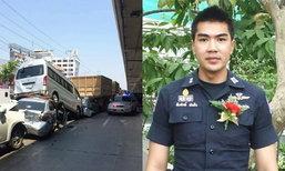 รถบรรทุกไก่เบรกแตกชน 6 คันรวด 'สืบศักดิ์ ผันสืบ' บาดเจ็บ