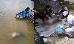 ผงะ! พบศพชายนิรนามถูกฆ่าโบกปูน ลอยมาตามกระแสน้ำ