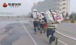 เร็วมาก นักดับเพลิงจีนฝึกซ้อม เจอเหตุทางติดขัดคับแคบ