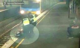 สาวเมาเกือบตาย ตัดหน้ารถไฟ จนท.ดึงร่างขึ้นมาหวุดหวิด