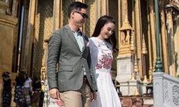 ครีม เปรมสินี ครบรอบแต่งงาน 1 ปี สวยหวานควงสามีเข้าวัดทำบุญ