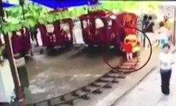 อุทาหรณ์ เด็กชาย 4 ขวบ โดนรถไฟสวนสนุกทับ กะโหลกแตก (มีคลิป)