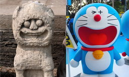 """สิงโตหินวัดจีนกลายเป็นเน็ตไอดอล ชาวเน็ตบอกเป็นบรรพบุรุษ """"โดราเอมอน"""""""