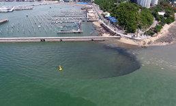 ภาพมุมสูง แหลมบาลีฮาย พัทยา มีน้ำทะเล 2 สี ส่งกลิ่นเหม็นไปทั่ว