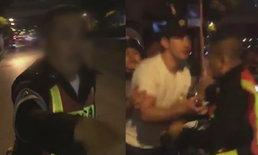 """ตำรวจวิ่งหนีหนุ่มเสื้อขาว ร้องลั่น """"มันจะฆ่าผม"""" ขอให้ชาวบ้านช่วย"""