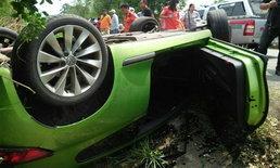 สาวใหญ่เจ้าของปั๊มน้ำมัน ขับรถยนต์พลิกคว่ำ เสียชีวิตคาที่