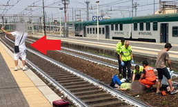 ไม่สนโลก! หนุ่มถ่ายเซลฟี่ชูสองนิ้ว หลังรถไฟชนคนในอิตาลี - โซเชียลรุมจวกขาดจิตสำนึก