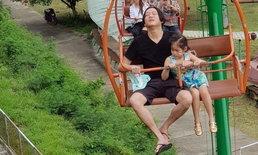 """โปรดซูมภาพ """"พ่อจิน"""" กลัวความสูงมาก แต่ยอมทำเพื่อ """"น้องณิริน"""""""