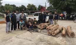 ชุดเฉพาะกิจไล่ล่า 3 โจรขบวนการตัดไม้พะยูงส่งนายทุน ยึดไม้ของกลาง 7 ท่อน